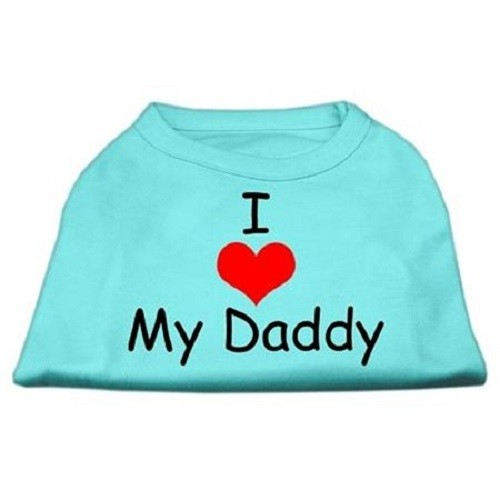 I Love My Daddy Screen Print Dog Shirt - Aqua | The Pet Boutique