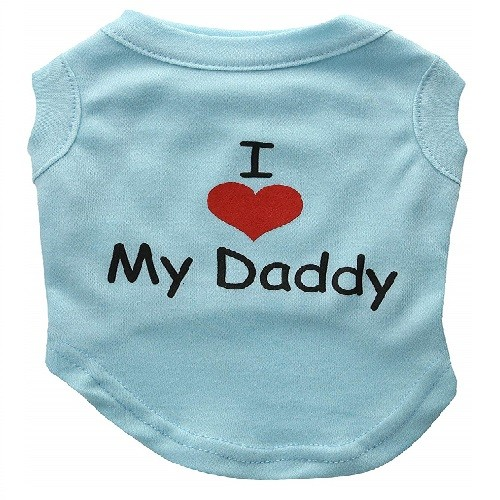 I Love My Daddy Screen Print Dog Shirt - Baby Blue | The Pet Boutique