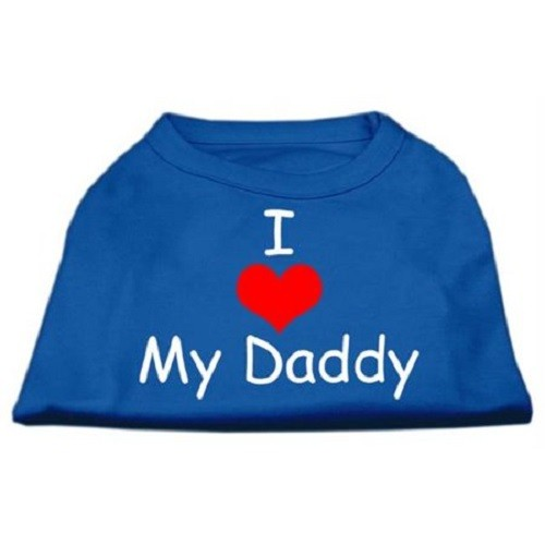I Love My Daddy Screen Print Dog Shirt - Blue | The Pet Boutique