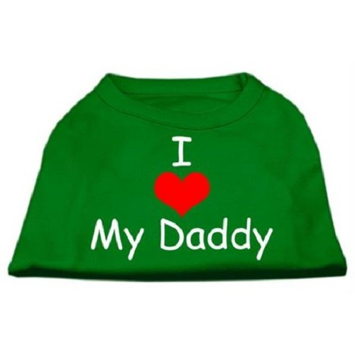 I Love My Daddy Screen Print Dog Shirt - Emerald Green | The Pet Boutique