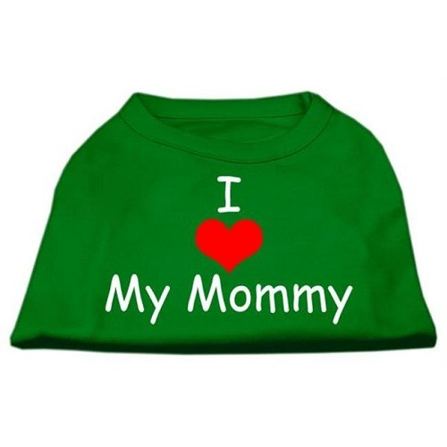I Love My Mommy Screen Print Dog Shirt - Emerald Green | The Pet Boutique