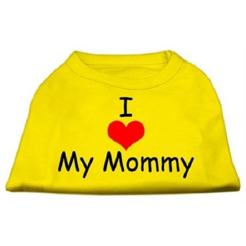 I Love My Mommy Screen Print Dog Shirt - Yellow | The Pet Boutique
