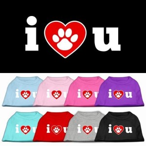 I Love U Screen Print Dog Shirt | The Pet Boutique