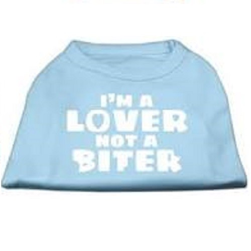 I'm a Lover not a Biter Screen Printed Dog Shirt - Baby Blue | The Pet Boutique