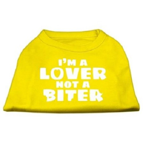 I'm a Lover not a Biter Screen Printed Dog Shirt - Yellow | The Pet Boutique