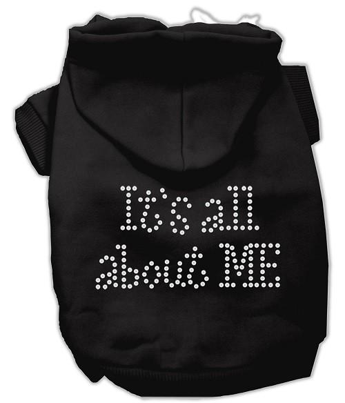 It's All About Me Rhinestone Dog Hoodie - Black   The Pet Boutique
