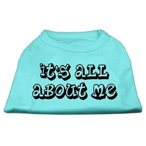 It's All About Me Screen Print Dog Shirt - Aqua | The Pet Boutique