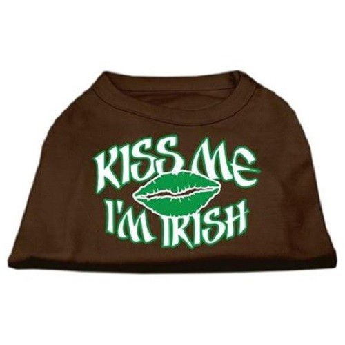 Kiss Me I'm Irish Screen Print Dog Shirt - Brown | The Pet Boutique
