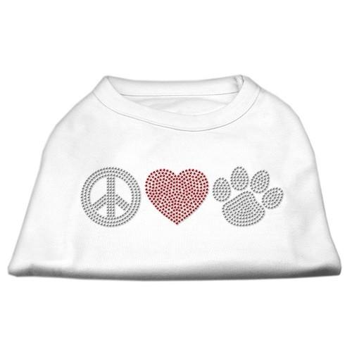 Peace Love and Paw Rhinestone Dog Tank Top - White   The Pet Boutique