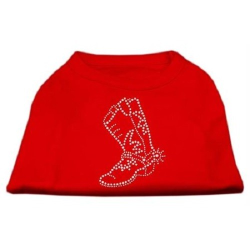 Rhinestone Boot Dog Shirt - Red | The Pet Boutique