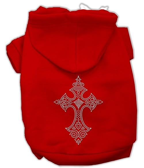 Rhinestone Cross Dog Hoodie - Red | The Pet Boutique