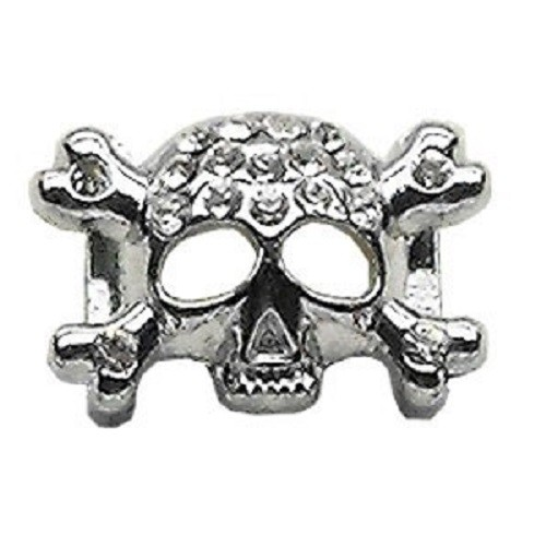Skull Slider Collar Charm - Clear | The Pet Boutique