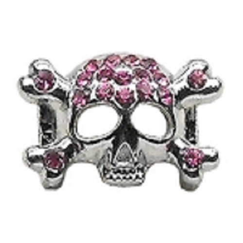 Skull Slider Collar Charm - Pink | The Pet Boutique