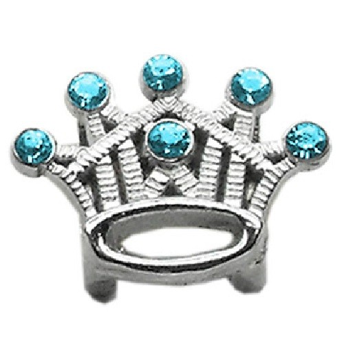 Slider Crystal Crown Collar Charm - Turquoise | The Pet Boutique