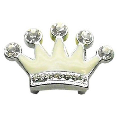 Slider Enamel Crown Collar Charm - White | The Pet Boutique