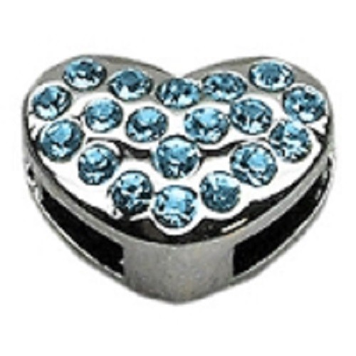 Slider Puffy Heart Collar Charm - Turquoise | The Pet Boutique