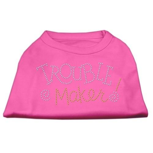 Trouble Maker Rhinestone Dog Shirt - Bright Pink | The Pet Boutique