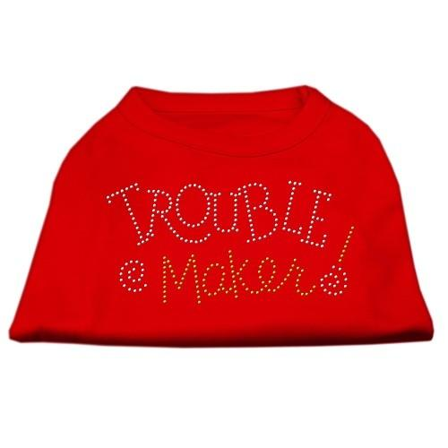Trouble Maker Rhinestone Dog Shirt - Red | The Pet Boutique