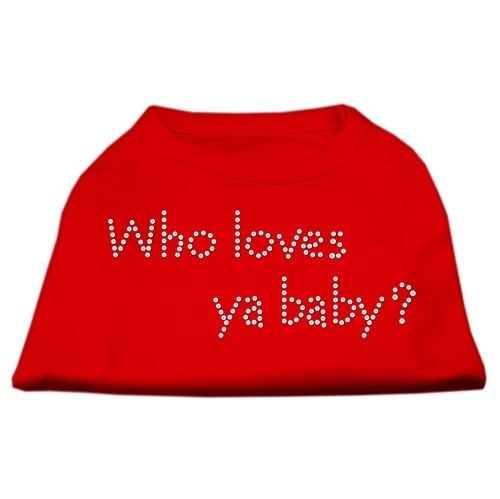 Who Loves Ya? Baby Rhinestone Dog Shirt - Red | The Pet Boutique