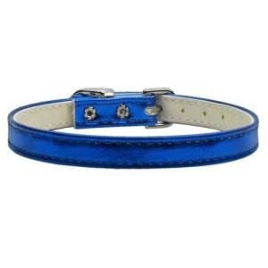 "3/8"" Metallic Plain Dog Collar - Blue MTL 