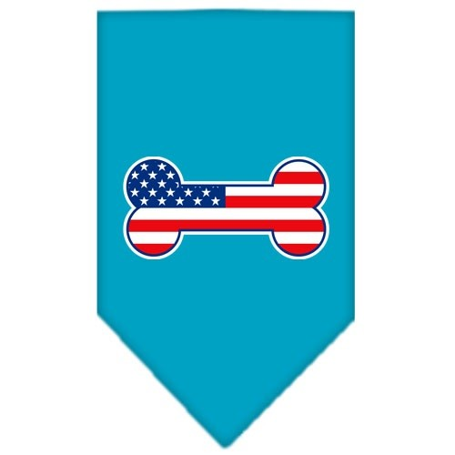 Bone Flag American Screen Print Pet Bandana - Turquoise | The Pet Boutique