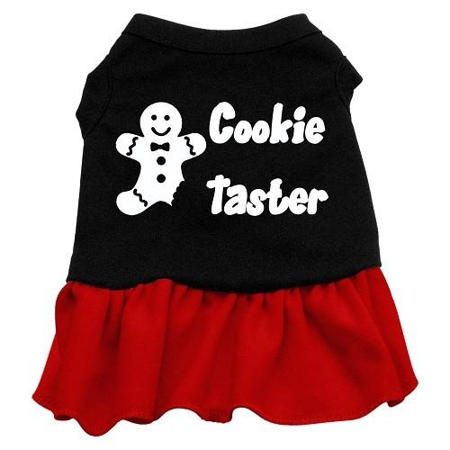 Cookie Taster Screen Print Dog Dress - Black with Red | The Pet Boutique