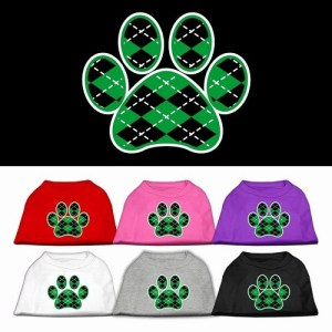 Green Argyle Paw Screen Print Dog Shirt | The Pet Boutique