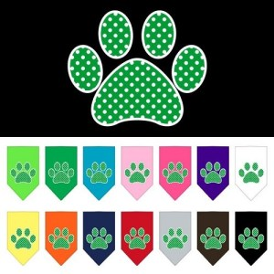 Green Swiss Dot Paw Screen Print Pet Bandana | The Pet Boutique
