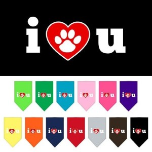 I Love U Screen Print Pet Bandana | The Pet Boutique