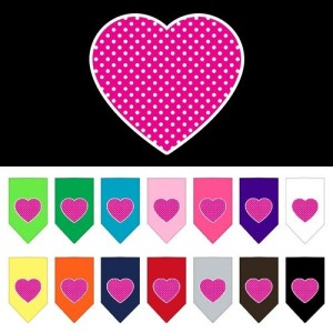 Pink Swiss Dot Heart Screen Print Pet Bandana | The Pet Boutique
