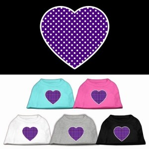 Purple Swiss Dot Heart Screen Print Dog Shirt | The Pet Boutique