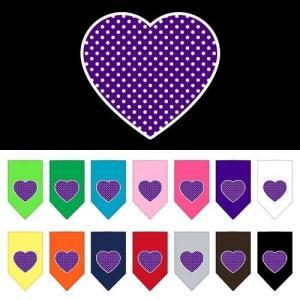Purple Swiss Dot Heart Screen Print Pet Bandana   The Pet Boutique