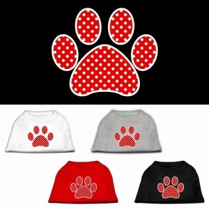 Red Swiss Dot Paw Screen Print Dog Shirt | The Pet Boutique