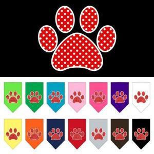Red Swiss Dot Paw Screen Print Pet Bandana   The Pet Boutique