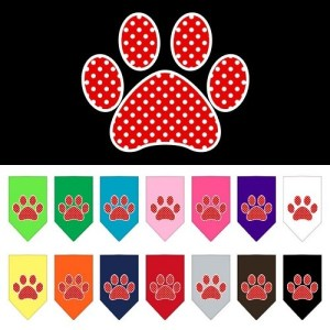 Red Swiss Dot Paw Screen Print Pet Bandana | The Pet Boutique