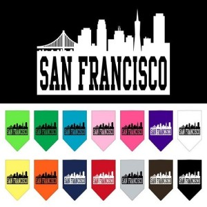 San Francisco Skyline Screen Print Pet Bandana | The Pet Boutique