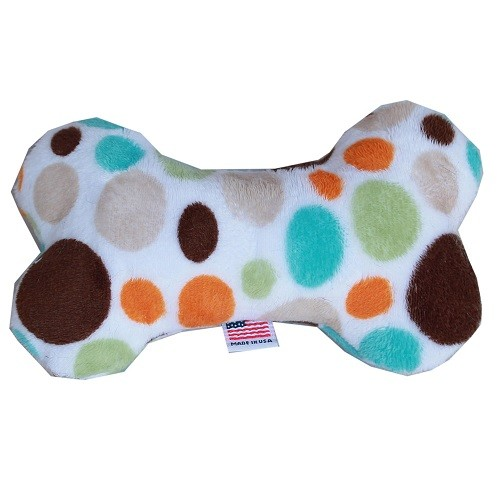 "6"" Plush Bone Dog Toy - Fall Party Dots 