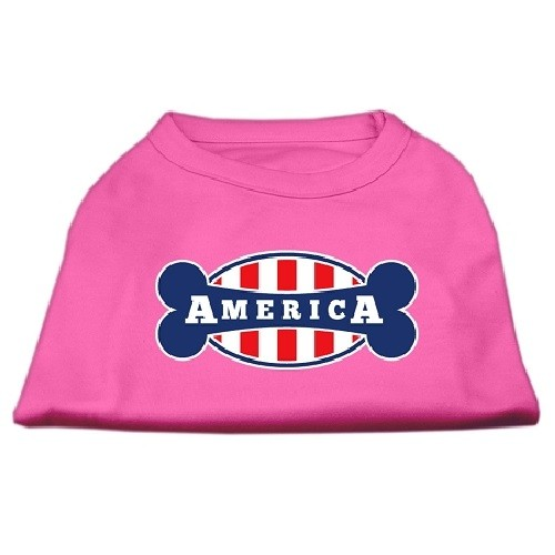 Bonely in America Screen Print Dog Shirt - Bright Pink | The Pet Boutique