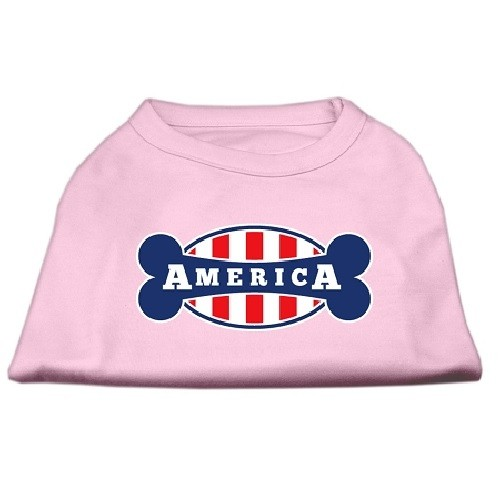 Bonely in America Screen Print Dog Shirt - Light Pink | The Pet Boutique