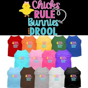 Chicks Rule, Bunnies Drool Screen Print Dog Shirt | The Pet Boutique