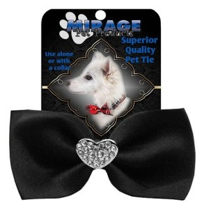 Crystal Heart Widget Pet Bow Tie - Black | The Pet Boutique