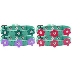 Flower Premium Dog Collar - Aqua | The Pet Boutique