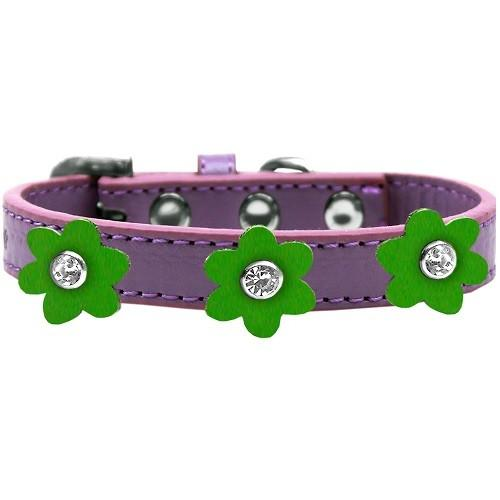Flower Premium Dog Collar - Lavender With Emerald Green Flowers | The Pet Boutique
