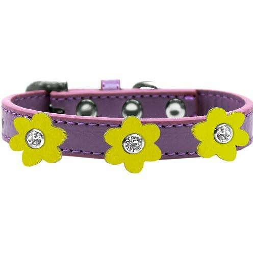 Flower Premium Dog Collar - Lavender With Yellow Flowers | The Pet Boutique