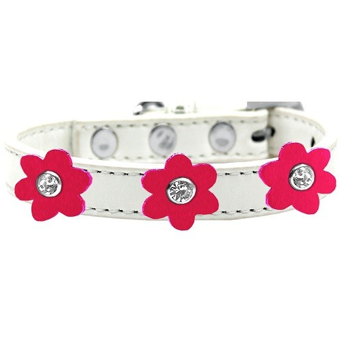 Flower Premium Dog Collar - White With Bright Pink Flowers | The Pet Boutique