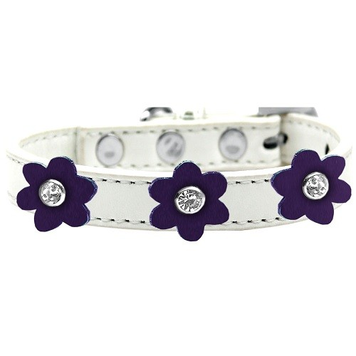 Flower Premium Dog Collar - White With Purple Flowers | The Pet Boutique