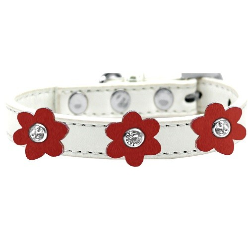 Flower Premium Dog Collar - White With Red Flowers | The Pet Boutique