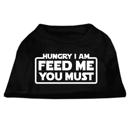 Hungry I Am, Feed Me You Must Screen Print Dog Shirt - Black | The Pet Boutique