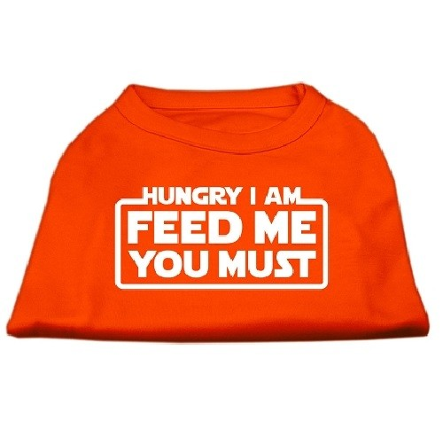 Hungry I Am, Feed Me You Must Screen Print Dog Shirt - Orange | The Pet Boutique