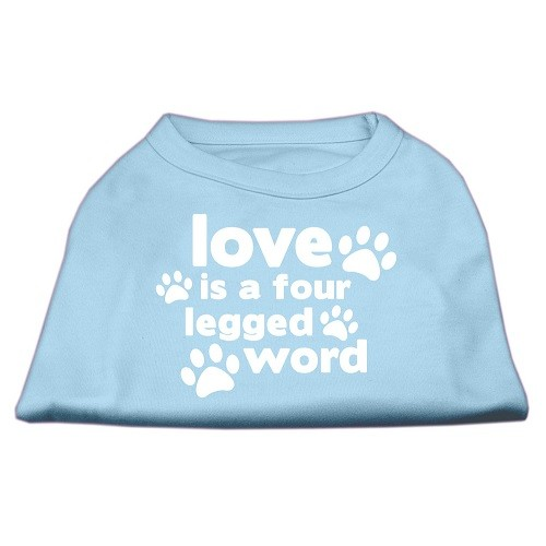 Love Is A Four Legged Word Screen Print Dog Shirt - Baby Blue | The Pet Boutique